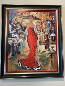 "Marc Clauzade ""Le Bar a Vin"" Lithograph Signed And Numbered Lady In Red $2500.00"