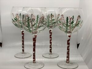 Christmas Wine Goblets Handpainted Candy Canes Lot Of 4
