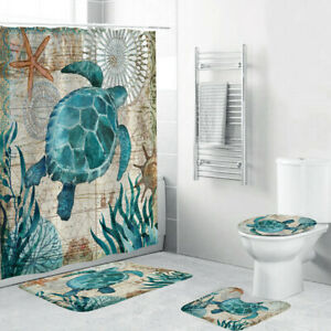 4PC Non Slip Toilet Polyester Cover Mat Set Bathroom Shower Curtain Sea Style