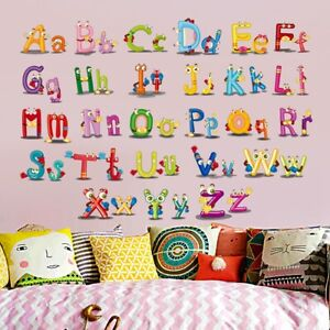 26 Letter Alphabet Animals Wall Stickers Kids Wall Decal Mural Rooms Decor j $5.12