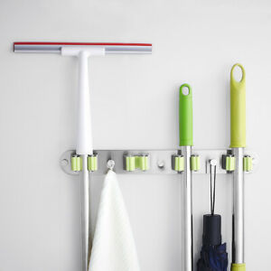 Mop Holder Hanger Kitchen Storage Broom Organizer Stainless Steel Wall Mop Rack