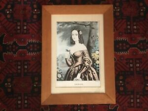 Antique N.Currier lithograph quot;SARAHquot; 1840s framed 13.75 X 18.75 worn patina $59.00