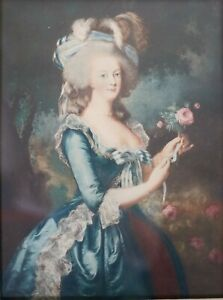 Color Lithograph Marie Antoinette with the Rose after Elisabeth Vigee Le Brun $225.00