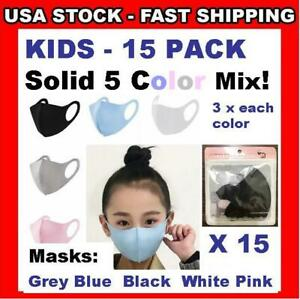KIDS Masks 15 Pack 5 Colors X 3 Face Covering 3D Boys ❤ Girls Reusable Child