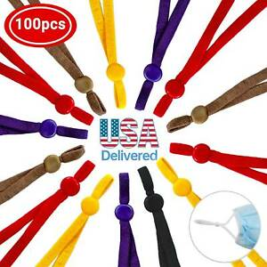 100 Pieces Sewing Elastic Band Cord with Adjustable Buckle for DIY Mask Sewing $16.91