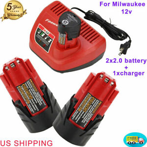 Charger M12 12V 2.0Ah Extended Capacity Battery 48 11 2460 for Milwaukee 12Volt