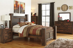 NEW Cottage Style Warm Brown Bedroom Furniture 5pcs King Poster Bed Set IA0K