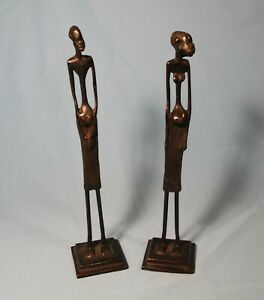 GIACOMETTI AFRICAN TRIBAL BRONZE METAL SCULPTURES ELONGATED ABSTRACT 11 1 2quot; TAL $49.95