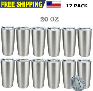 12 Pack 20OZ Stainless Steel Tumbler Slider Lid Double Wall Vacuum Insulated
