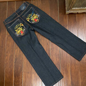 Ed Hardy Designer Jeans by Christian Audigier Tiger Embroidery Size 36