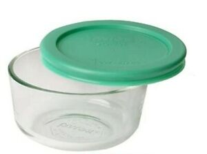 New Pyrex 1 Cup Clear Glass Storage Bowl Container Dish w Green Top Cover Lid