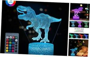 3D Dinosaur Night Light Gift for Kids 3D Led Illusion Lamp Three Pattern and
