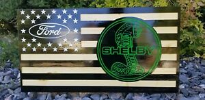 Ford shelby cobra 16x30 inch wooden american flag hand painted CNC wall decor...