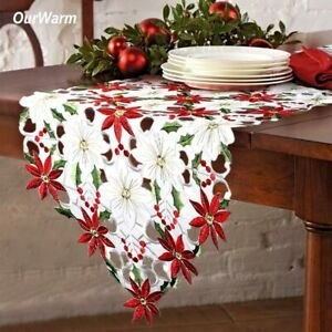 Embroiderd Christmas Table Runner Tablecloth Cover Home Xmas Party Table Decor $11.99