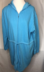 Teal Zip Up Hoodie Jacket Women's Large Done Down Under Swim Cover Up L S $24.99