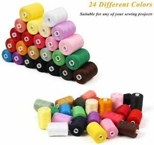 Cotton Sewing Thread 24 Colors 1000 Yards Cotton Thread Sets Spools Threads $18.52