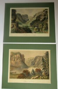 Pair of antique lithographs Ireland Luggelaw and Devil#x27;s Glen Wicklow c1860 GBP 25.00