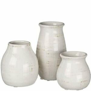 Small White Ceramic Vase Set Beautiful Centerpieces Home Warming Gifts New