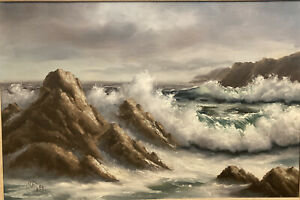 Original Signed California Seascape Oil Painting by Listed Artist Robert Wee $450.00