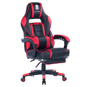 Ergonomic Computer Gaming Chair High back Chair Swivel Racing Footrest Red