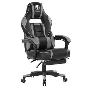 Ergonomic Computer Gaming Chair High back Chair Swivel Racing Footrest Grey