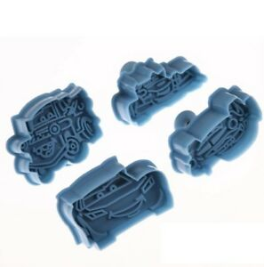 4pcs Cars Cookie Cutters Plunger Fondant Cake Mold Cutter Truck Car Embossing