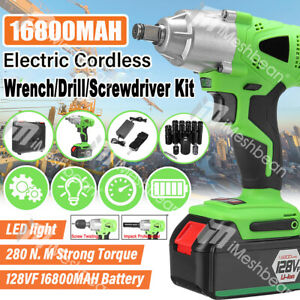 Cordless Electric Impact Wrench Sockets set 1 2 128V Brushless w BatteryBox