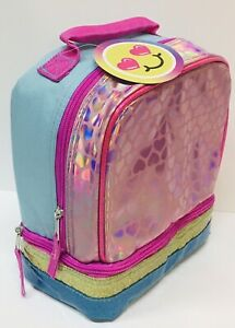 🎀 Shiny Pink Backpack Lunchbox Soft Tote Bag for Girls Dual Compartment