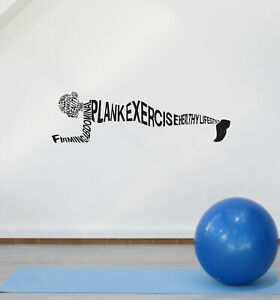 Vinyl Wall Decal Plank Exercise Workout Sport Words Fitness Stickers ig5930