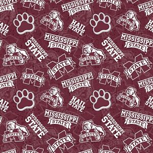 NCAA Mississippi State Bulldogs Licensed Cotton Fabric 1 2 Yard 43 44 Wide BTHY $4.46
