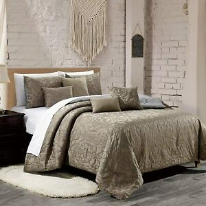 7 Pieces Como Embroidered Comforter Set Soft Luxury Collection QueenTaupe US