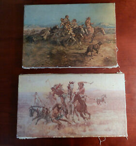 2 C M Russell Western Art Prints on Canvas 1898 and 1908 Signed $47.50
