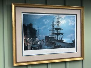"John Stobart Large Limited Ed. Lithograph ""Boston Long Wharf by Moonlight 1865"" $999.00"