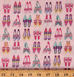 Cotton Shoes Colorful Old Shoes Bows Pink Fabric Print by the Yard D787.88