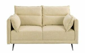 Upholstered Living Room Couch 57quot; Mid Century Linen Loveseat Sofa Pillows Beige