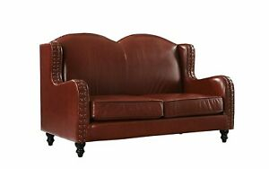 Leather Loveseat 2 Seater Living Room Couch with Nailhead Trim Light Brown