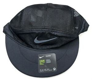 Nike Dri Fit Tailwind Black Running Hat Lightweight Foldable Packable Reflective $18.85