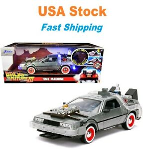 Back to the Future 3 DeLorean Time Machine w lights Diecast Car 8.25#x27;#x27; 1:24