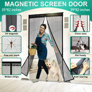 Magnetic Screen Door Heavy Duty Hands Free Mosquito Mesh Anti Bugs Fly Curtain