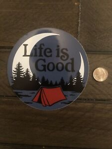 """New Life Is Good Camping Tent Moon Sticker 4"""" Circle Hydroflask Yeti Car Decal"""