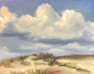 Original Signed Oil Painting Clouds Ocean Lake Sea Beach Abstract Landscape KEG $49.00