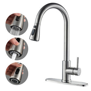 Kitchen Faucet Stainless Steel Sink Tap Single Handle Brushed Pull Out Sprayer $36.99