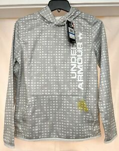 NWT Under Armour Boys Armour Fleece Novelty Hoodie YXL White Pop Gray Flaw $11.99