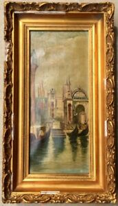 Antique oil painting Venice scene circa 1900 framed unusual size BFE initials $140.00
