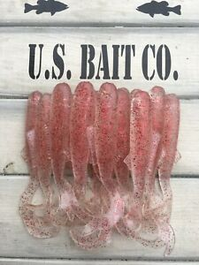"""Swimming Minnow Shad 4""""clear Red Flake Lot Of 20 Wham Fisheze Bass Baits"""