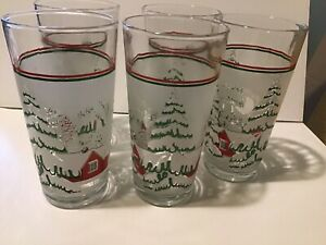5 KIG Christmas Glass 14 oz Tumblers W Red House Snow Covered Trees amp; Red