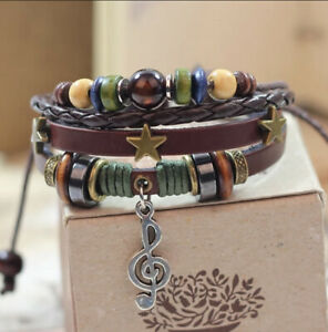 Men Women Adjustable Genuine Leather Bracelet Bangle Wristband Punk Cuff Beaded