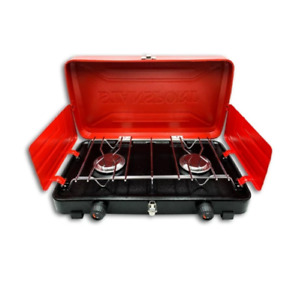 Portable Propane Gas Camping Stove with 2 Burners Red