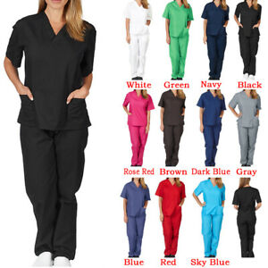 Medical Doctor Nursing Scrubs Set Hospital Uniform Costume Unisex Men Women
