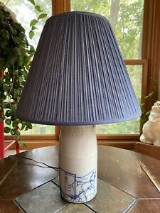 Vintage Salmon Falls Stoneware Lamp with Horse And Buggy Original Shade 16""